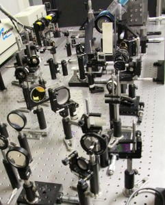 Part of the experimental setup in one of the polariton labs