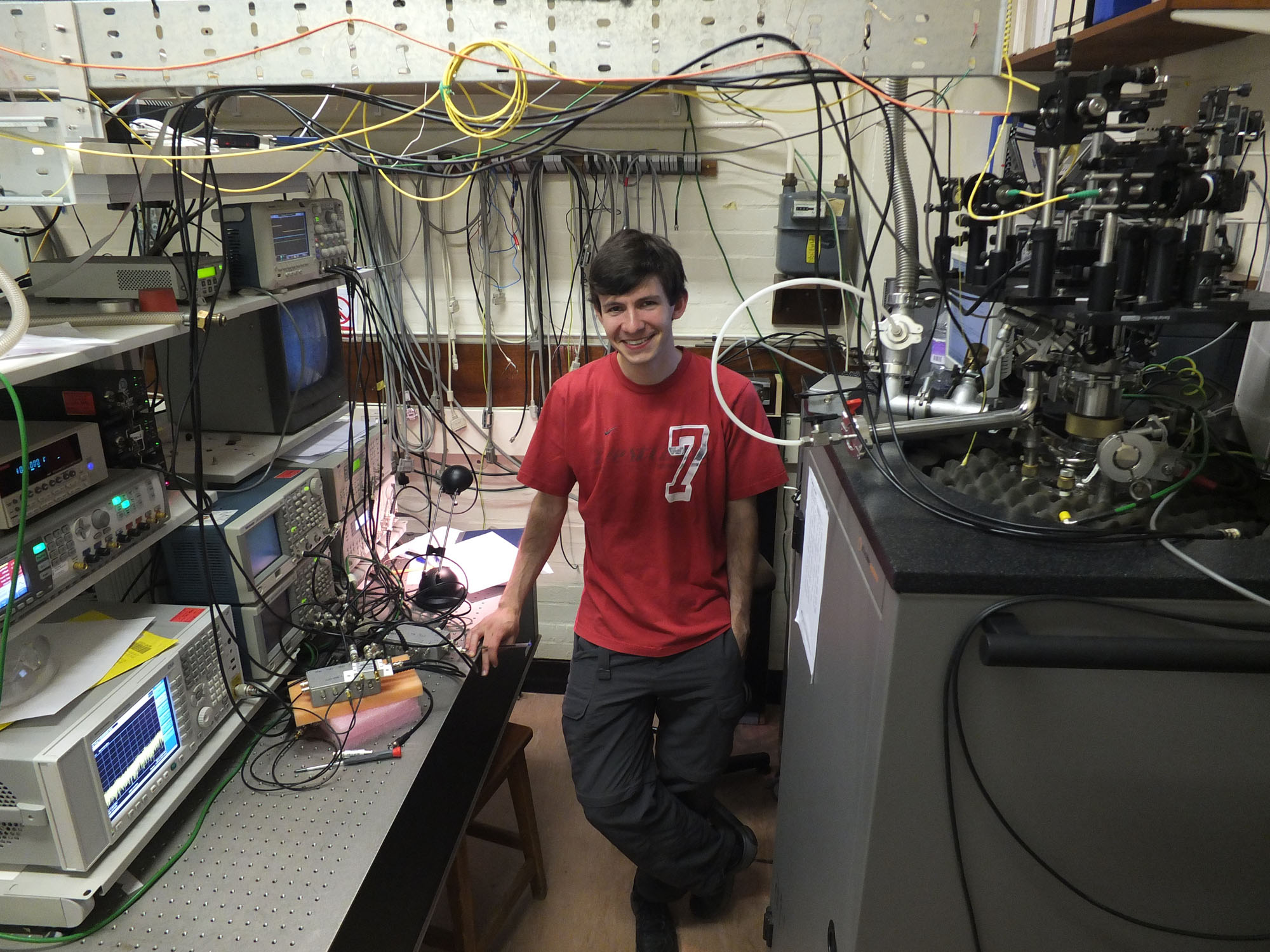 Optically detected nuclear magnetic resonance (ODNMR) laboratory. Andreas Waeber is studying nuclear spin coherence and fluctuations in strained (self-assembled) quantum dots.