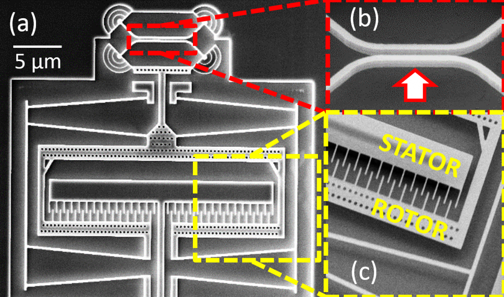 SEM image of  proof-of-concept micro-opto-electromechanical comb-drive actuated structure. An applied voltage is applied to vary the gap between the directional coupler waveguides (arrow in (b)).